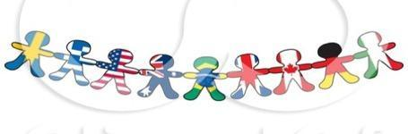 banner of paper cut out people shaded in various flags