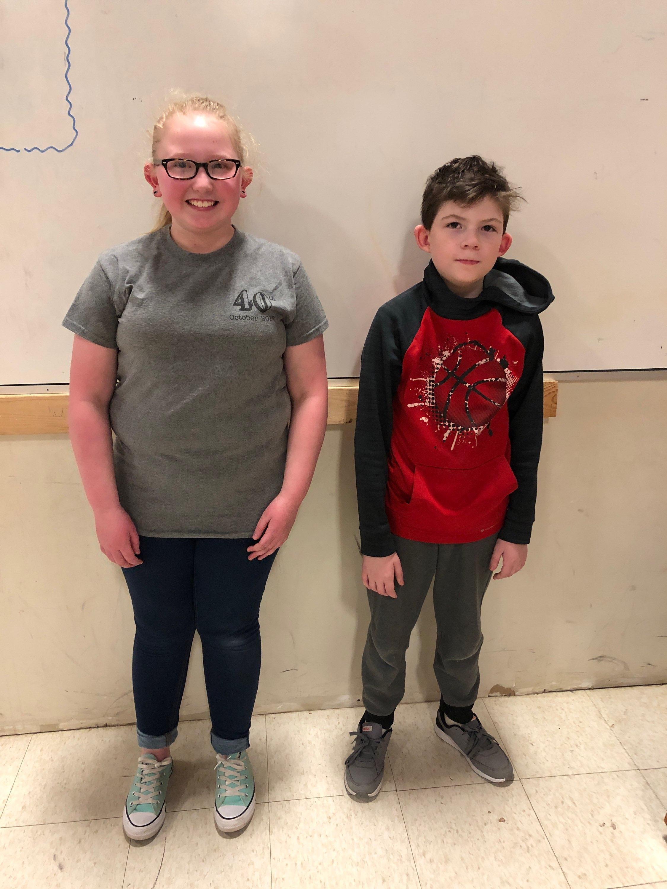 Emma on the left was the MCES spelling bee winner and Turner on the right the MCES runner-up