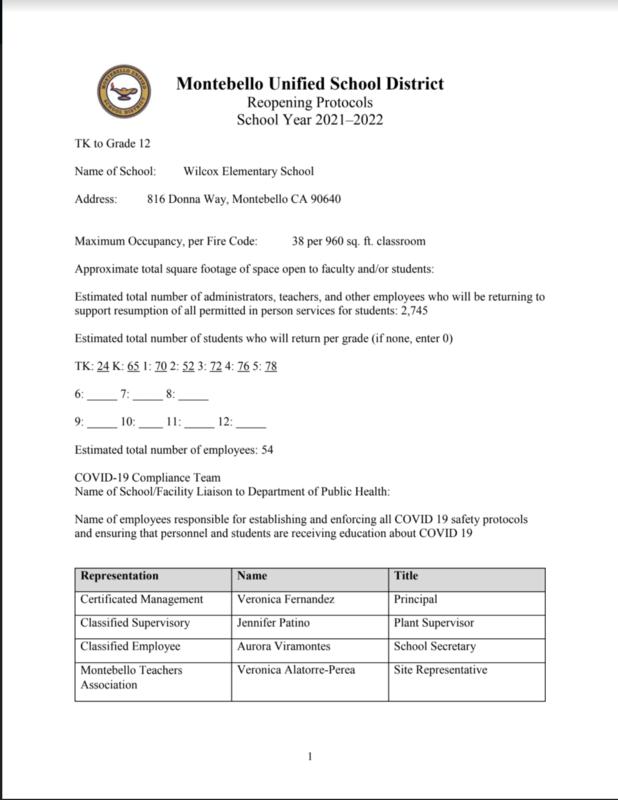First page of reopening protocols