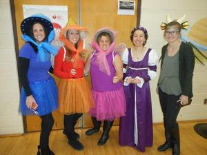 Teachers dressed as characters from Sleeping Beauty
