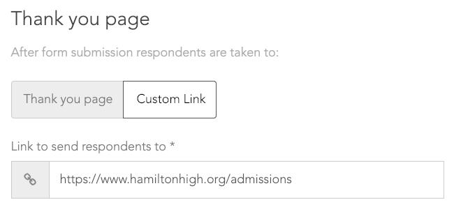 Enter a custom link