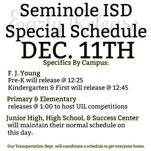 UIL Special Schedule