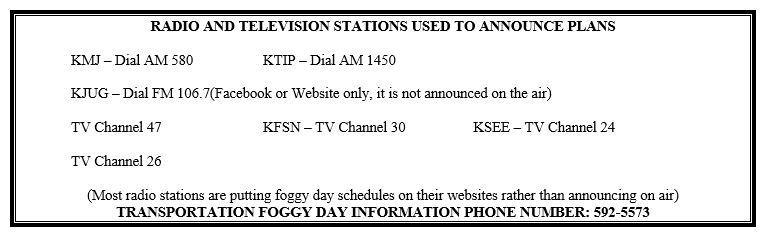 foggy day schedule televison sources