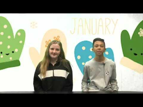 This is a screenshot of 2 Tuffree Leadership students reading the morning announcements.