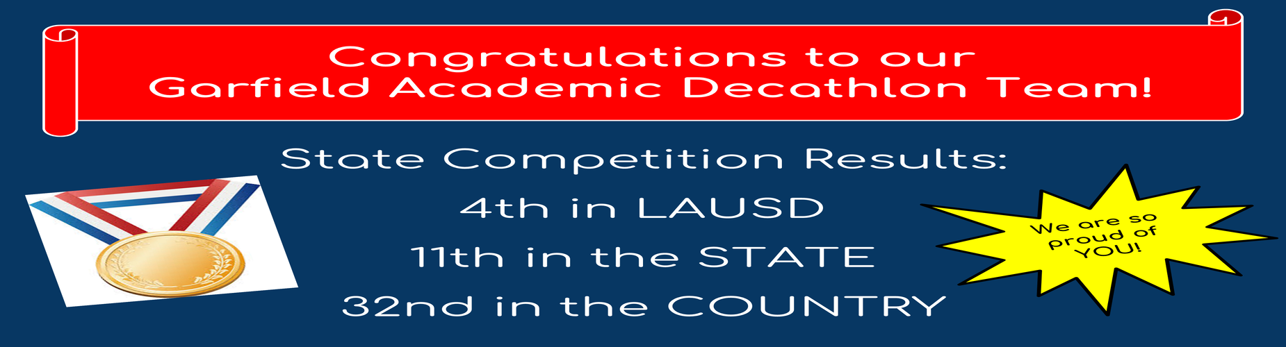 Congratulating our Decathlon Team for 4th in LAUSD and 11th in State