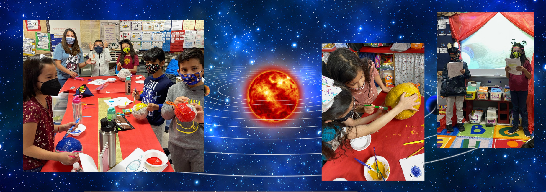 collage of photos showing elementary students making models of the solar system