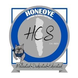 Honeoye Logo, bulldog with Honeoye Lake, HCS, motivated, dedicated, educated