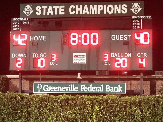 a picture of a football score board