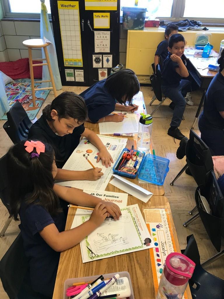 1st grade works in their journals