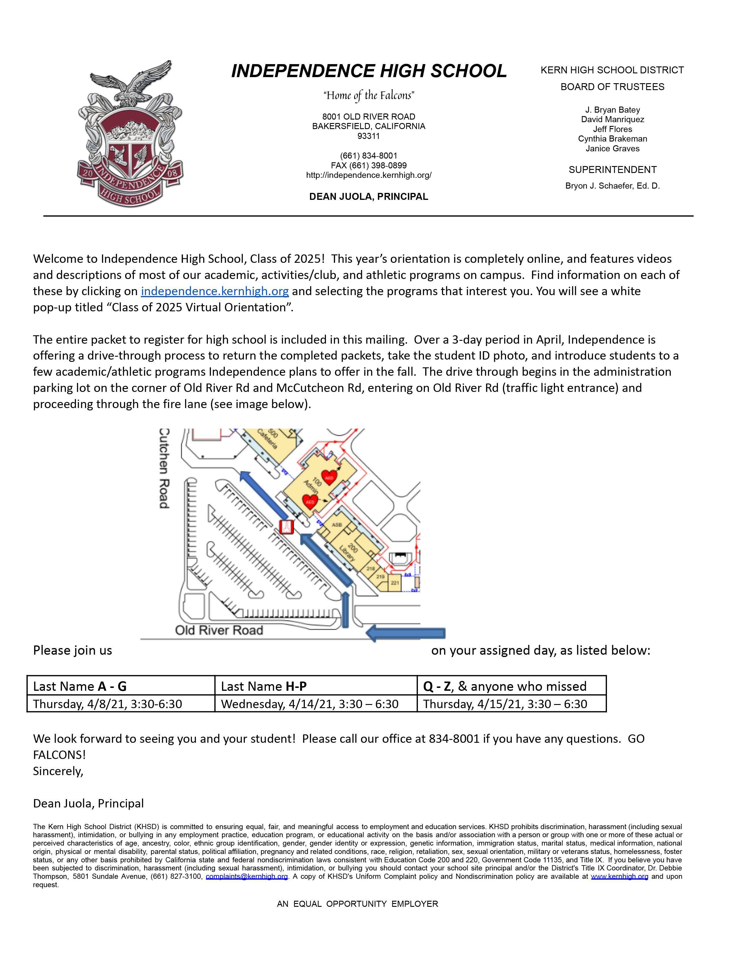 Principal's Letter about Orientation