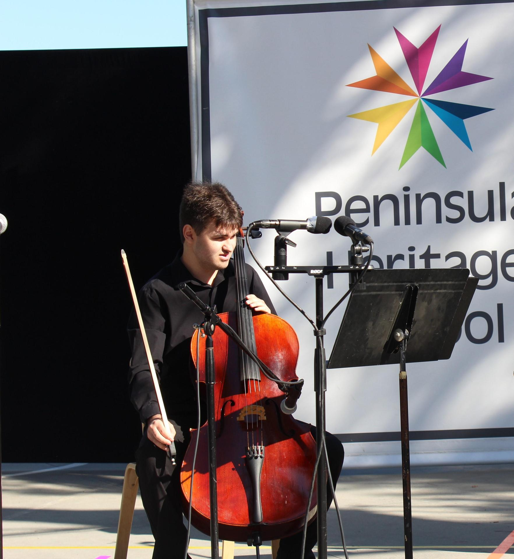Aaron Playing Cello