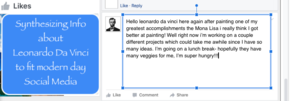 close up of facebooks comment about davinci