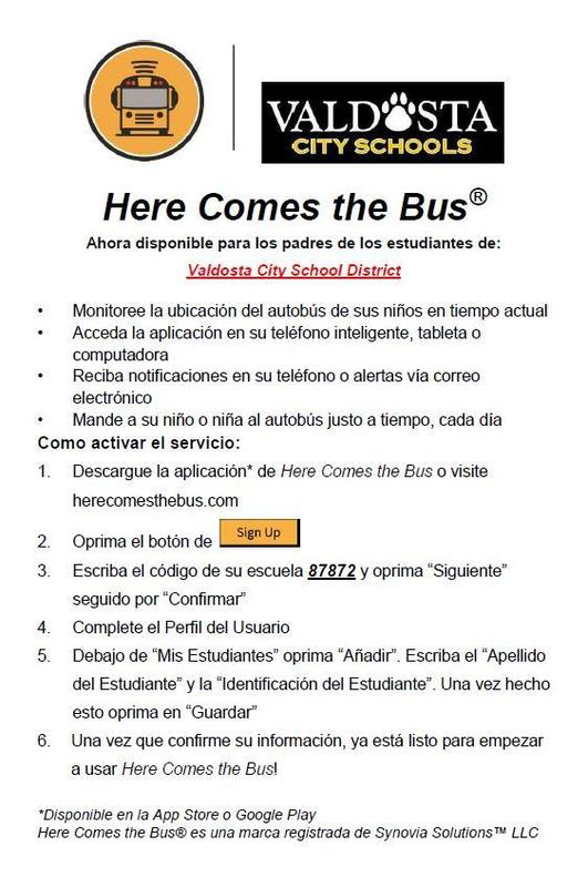 Here Comes the Bus Flyer SPANISH