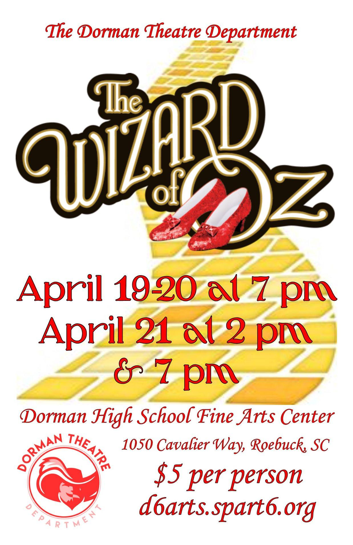A flyer with the date and time of the Wizard of Oz