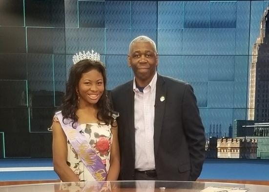 a photo of the Baker Buffalo Queen, Sara Evans and Mayor Waites when they were in the WAFB TV Studio interview