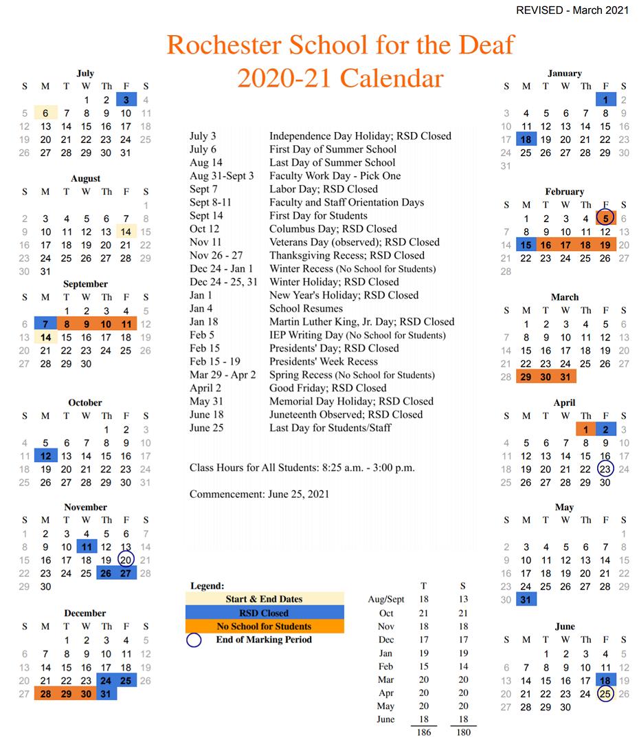 RSD School Year 2020-2021 Academic Calendar