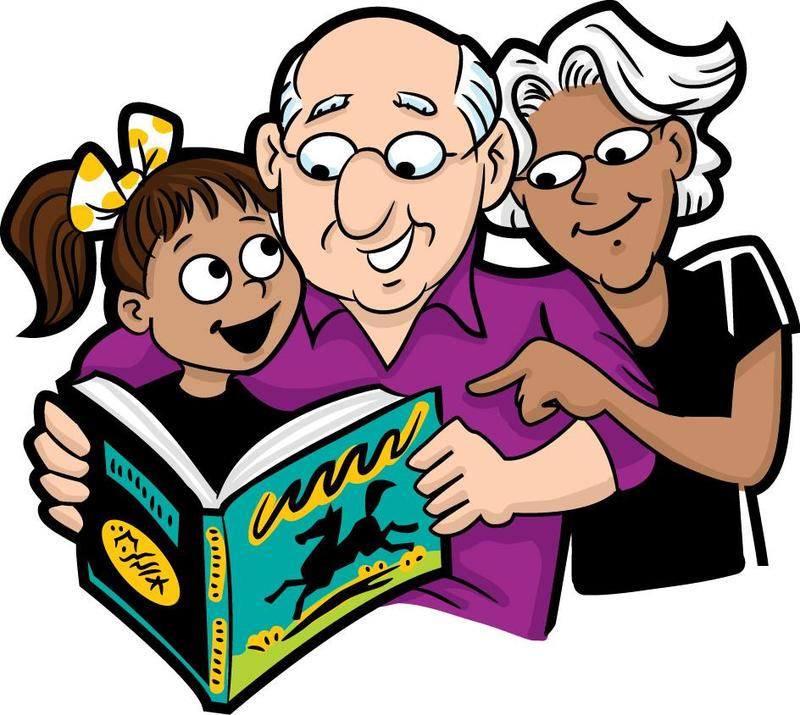 Picture of grandparents reading