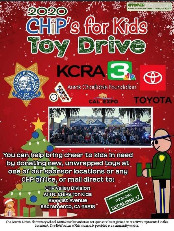 CHP toy drive flyer