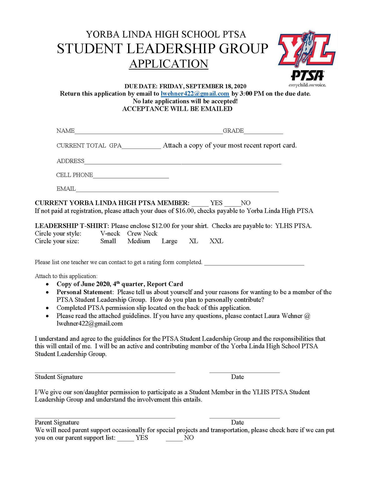 2020-2021 PTSA Student Leadership Application