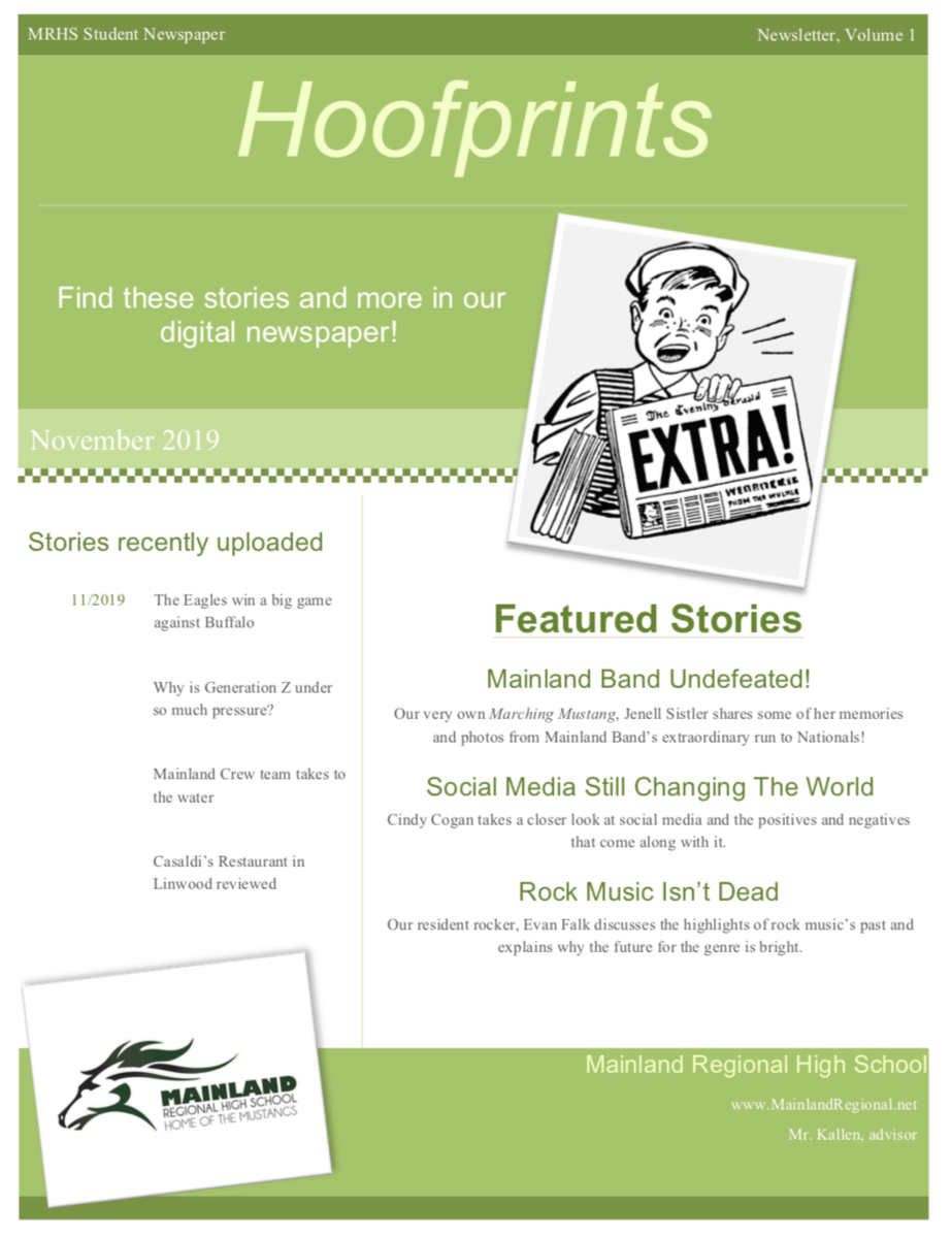 Page 1 of November 2019 Newsletter showing featured stories