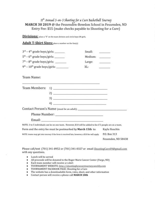 Shoot for a cure Registration Form