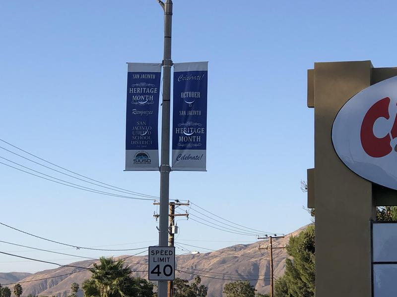 Heritage Month Banner for SJUSD on display along San Jacinto Avenue