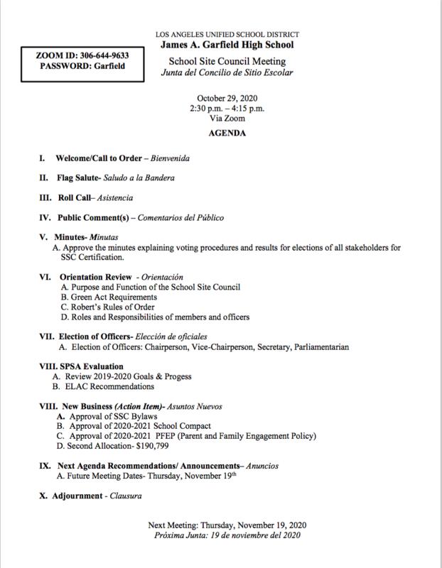 SSC agenda