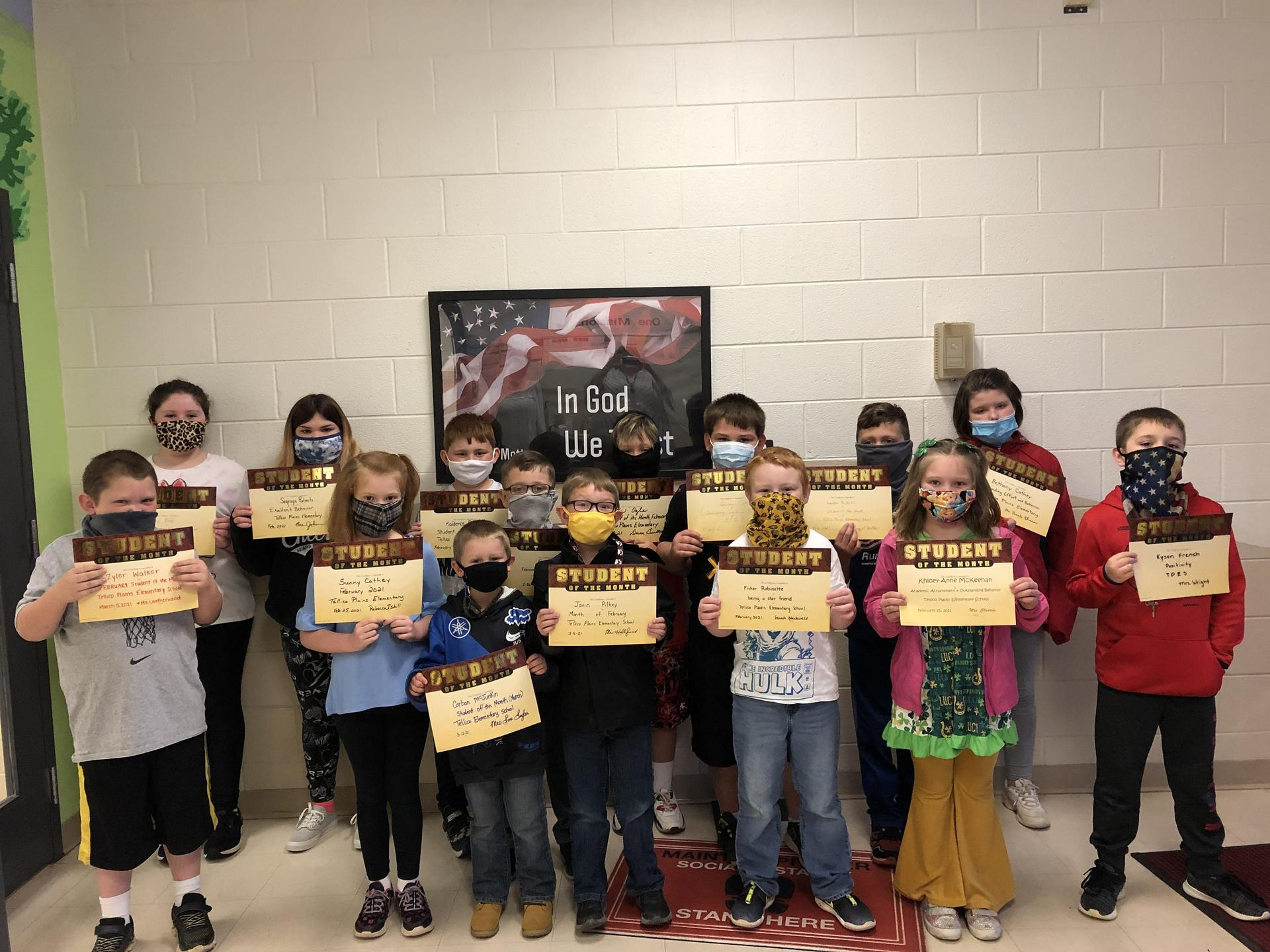 Picture of February 2021 Students of the Month at TPES