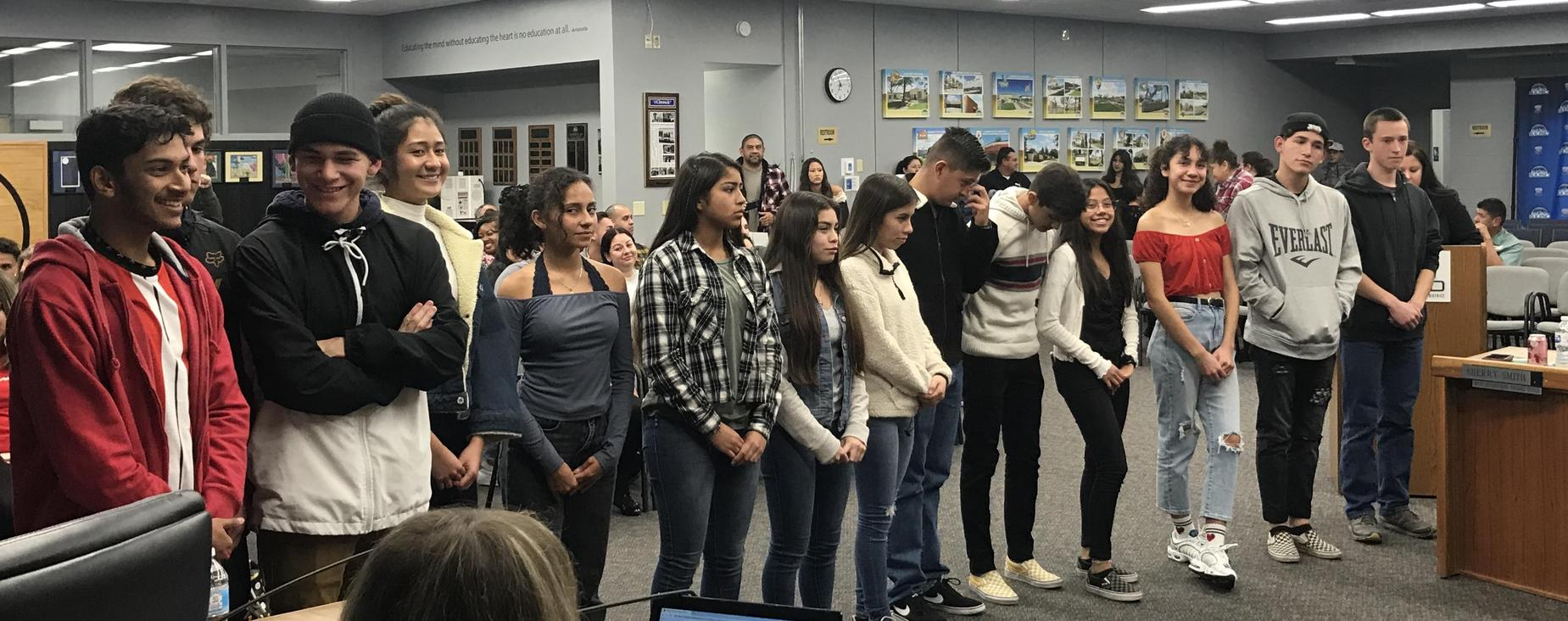 SJHS Cross Country was recognized for their CIF League Championship.  Go, Tigers!