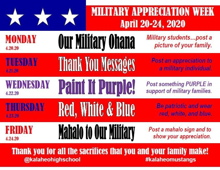 Military Appreciation Week--April 20-24 Featured Photo