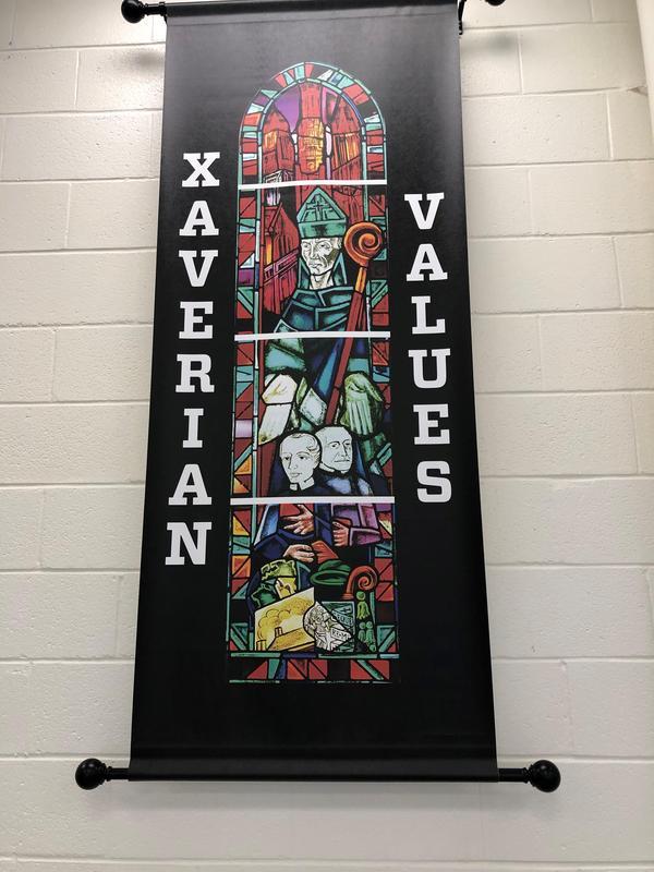 New Xaverian Values Banner in Xavier Dining Hall