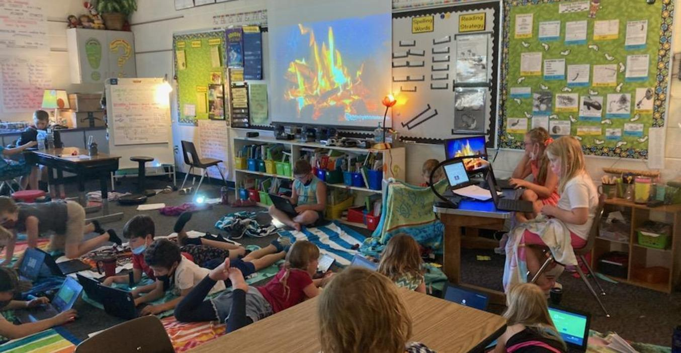 Lee students camp out to read!