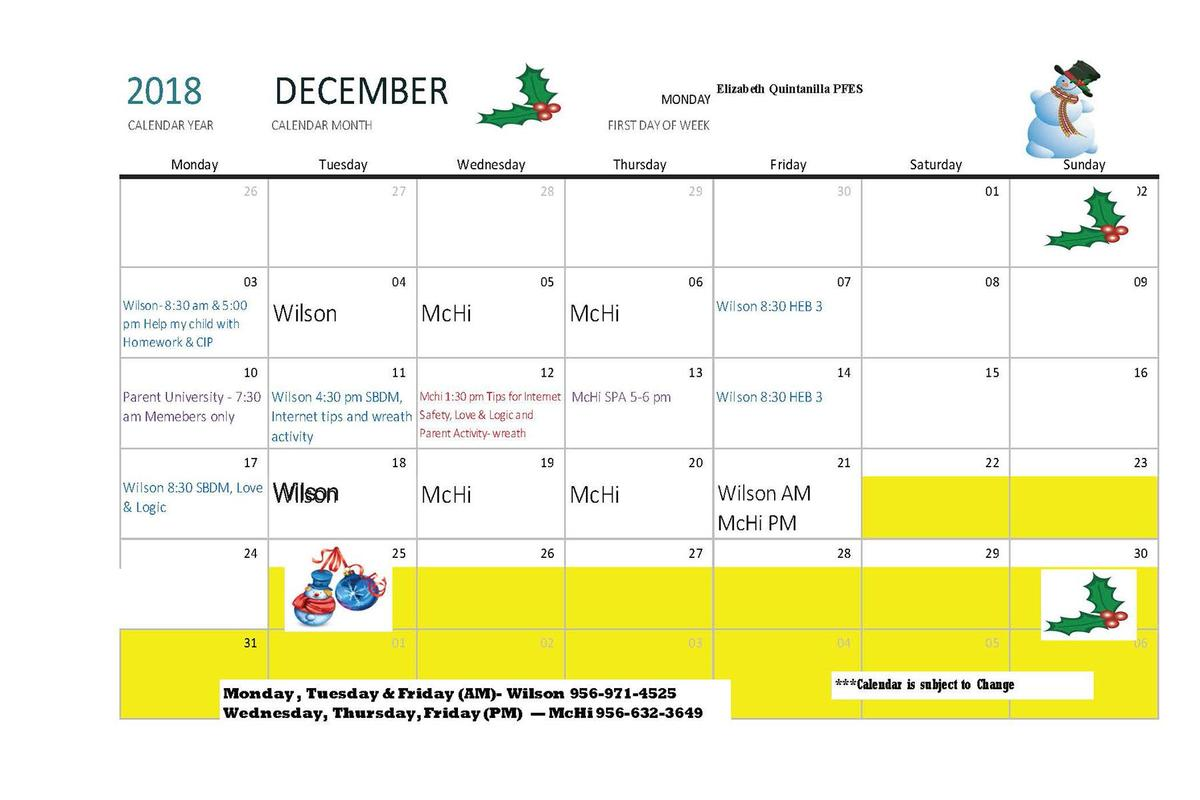 Calendar of events for December