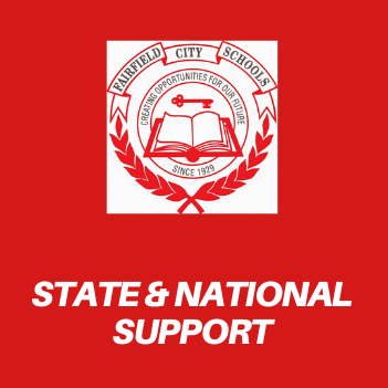 Graphic that reads State & National Support