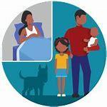 CDC cartoon family with dog