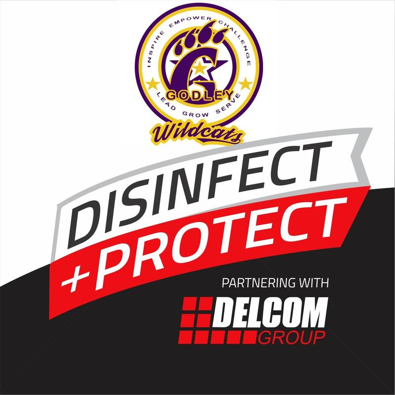 Disinfect + Protect Delcom graphic