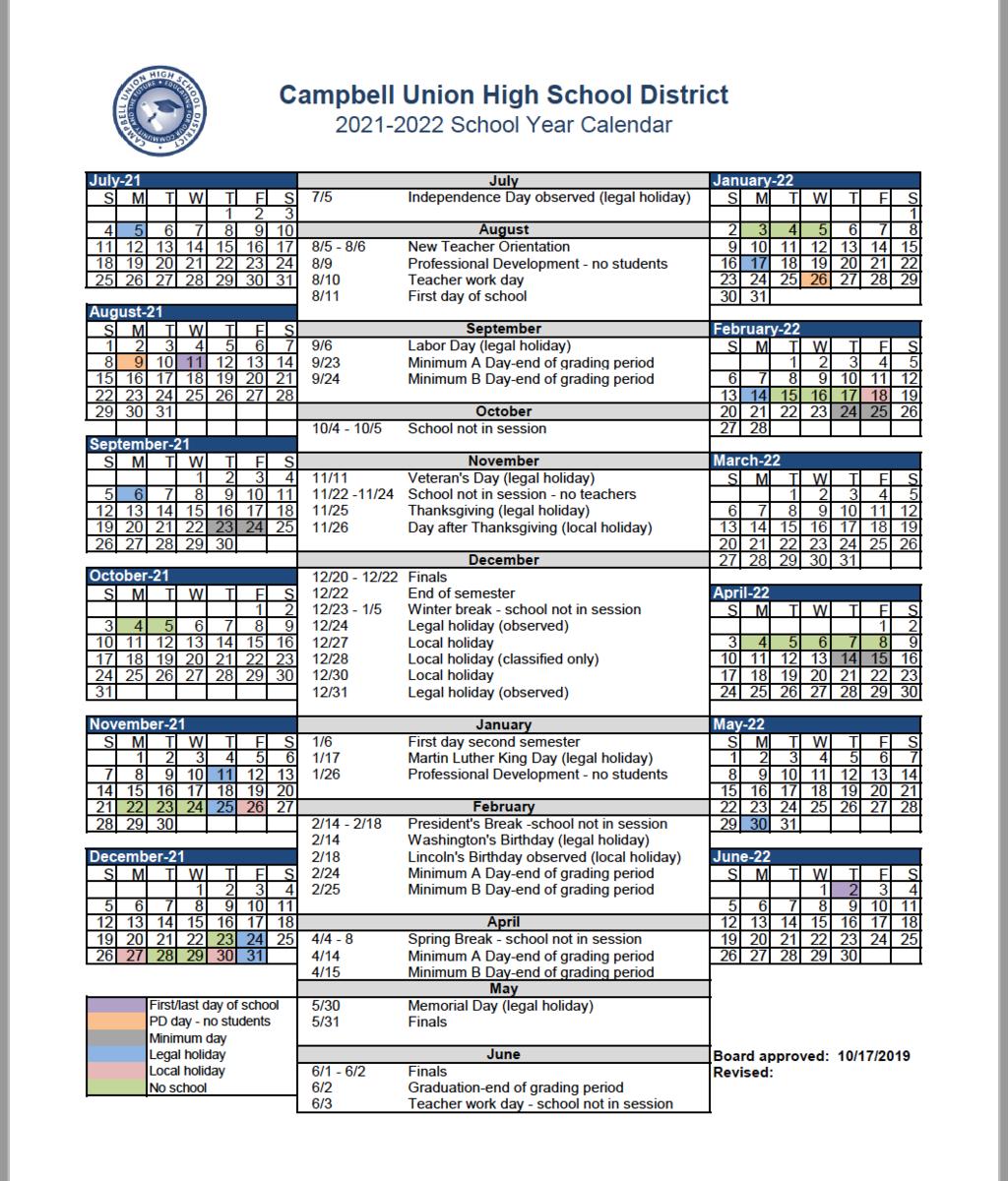 image of 2021-22 CUHSD academic calendar