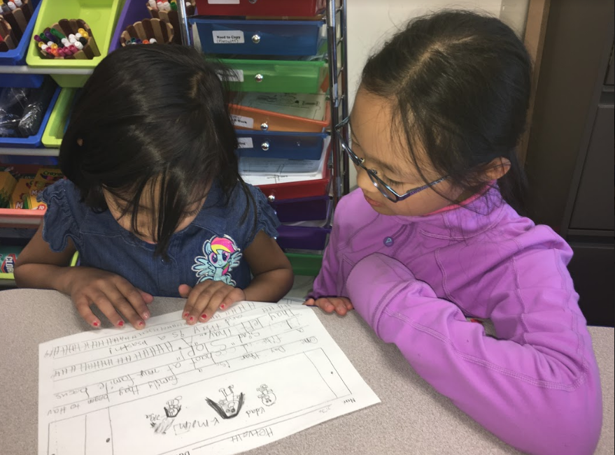 First and fourth graders participate in writing workshops to improve the draft version of their realistic fiction stories.