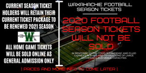 graphic announcing no football season tickets for 2020