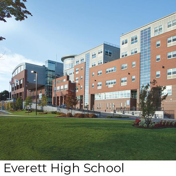 The exterior of Everett High, a side view of the front of the building