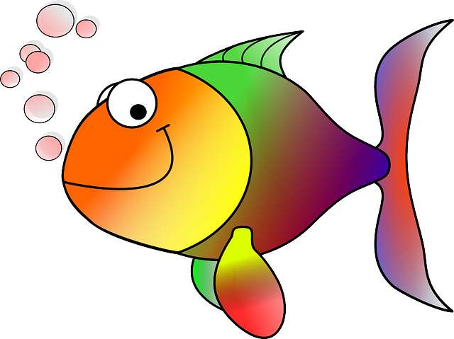 Rainbow Fish with Bubbles