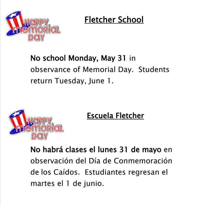 No School on Memorial Day May 31, 2021