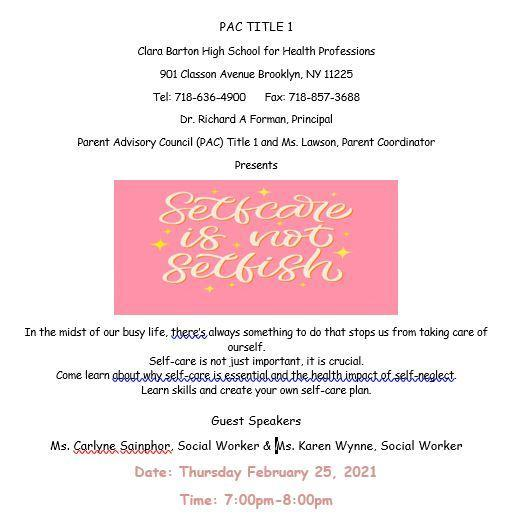 event flyer with names of guest speakers Ms. Carlyne Sainphor and Ms. Karen Wynne