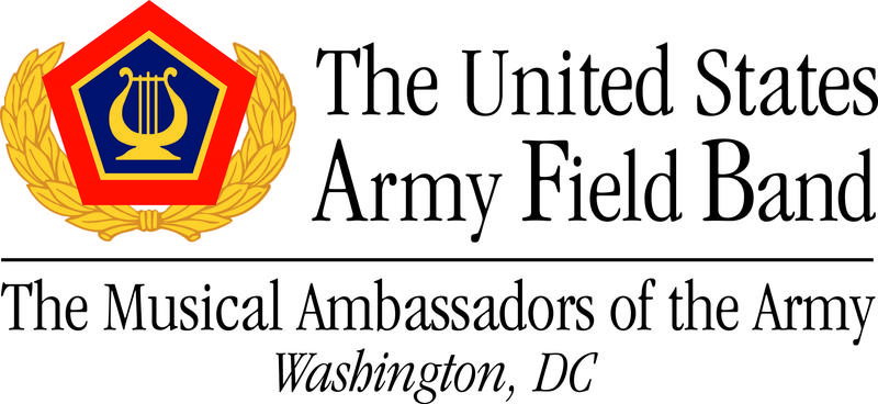 US Army Field Band Logo in gold and red with a music symbol