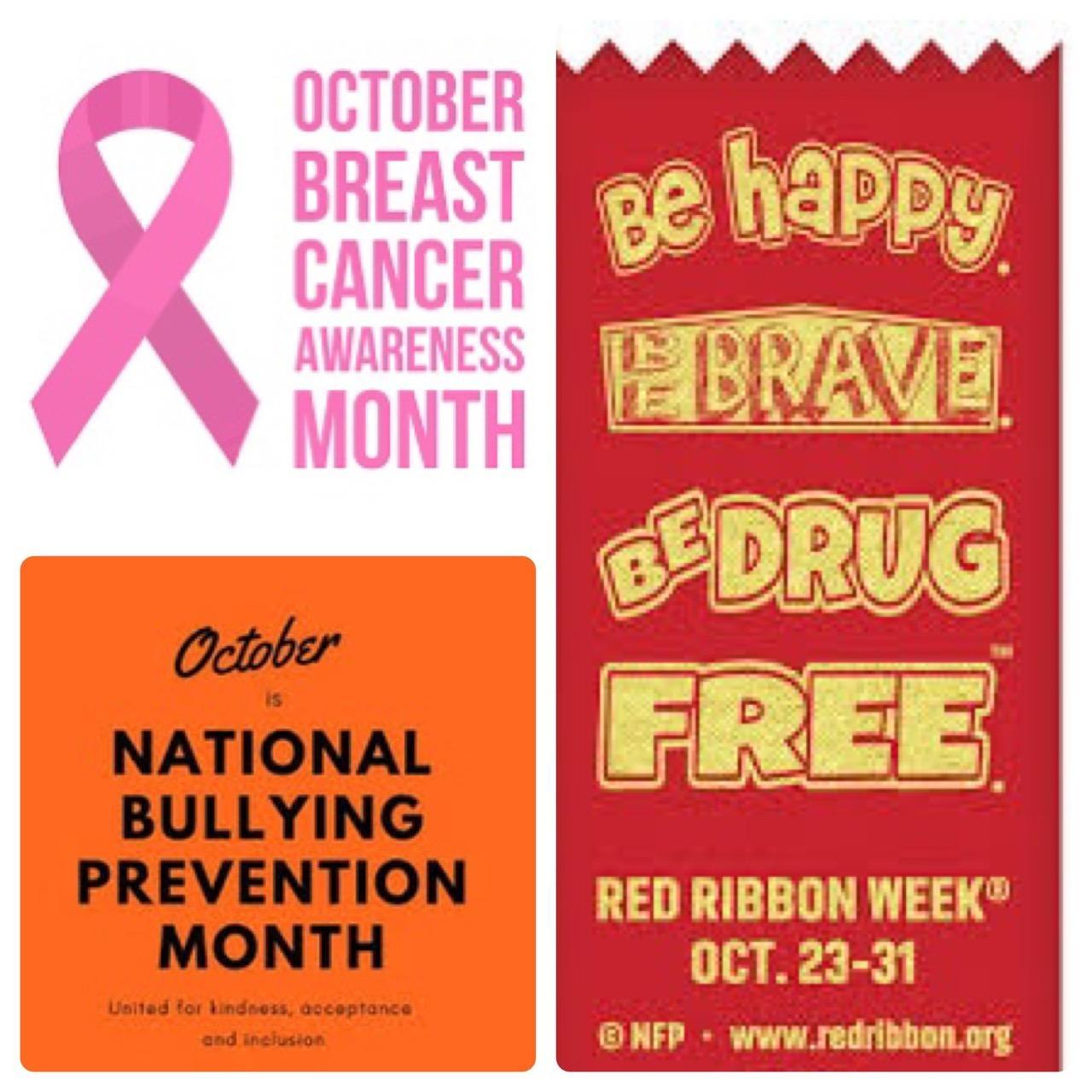 pic collage of October month awareness of breast cancer, bullying prevention, and red ribbon week