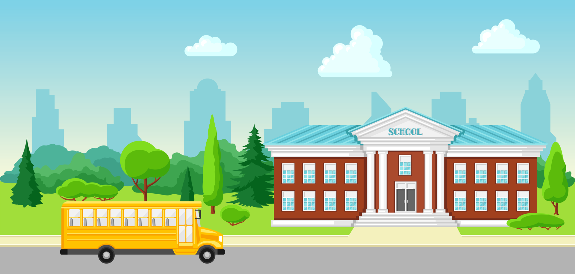 school bus and school building