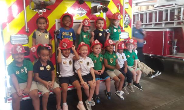 Highland's Pre-K field trip to the Eunice Library,  Police Station,  Marshal's Office, City Court,  Fire Station, & Splash Pad
