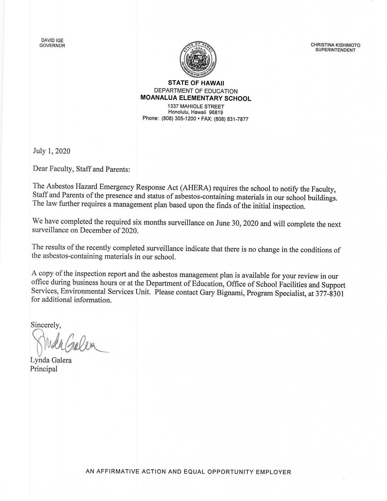 Asbestos Hazard Emergency Response Act memo