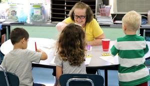 Photo of Kindergartners enjoy painting during an Extended School Year (ESY) program in Westfield Public Schools.