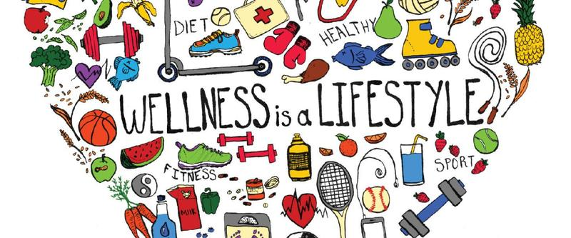wellness heart with pictures and words